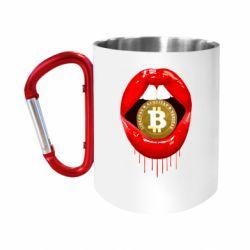 Кружка з ручкою-карабіном Bitcoin in the teeth