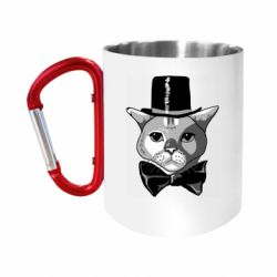 Кружка з ручкою-карабіном Black and white cat intellectual