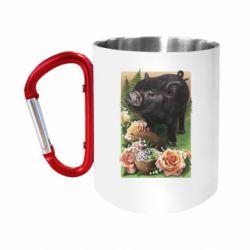 "Кружка с ручкой ""карабин"" Black pig and flowers"