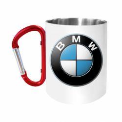 """Кружка с ручкой """"карабин"""" BMW Logo 3D"""