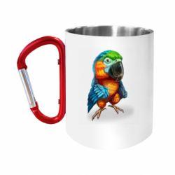 Кружка з ручкою-карабіном Bright parrot art