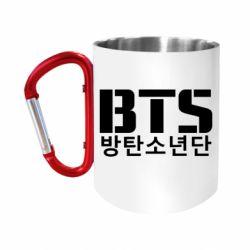 """Кружка с ручкой """"карабин"""" Bts logo"""