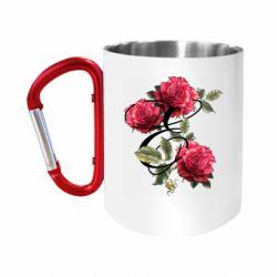 """Кружка с ручкой """"карабин"""" Буква Е с розами"""