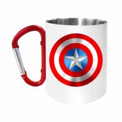 """Кружка с ручкой """"карабин"""" Captain America 3D Shield"""