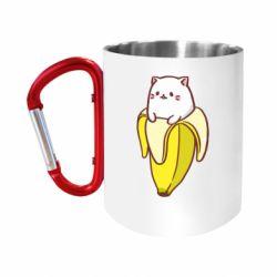 """Кружка с ручкой """"карабин"""" Cat and Banana"""