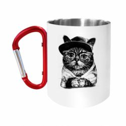 Кружка з ручкою-карабіном Cat in glasses and a cap