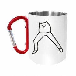 """Кружка з ручкою """"карабін"""" Cat in pants"""
