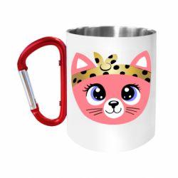 """Кружка с ручкой """"карабин"""" Cat pink"""