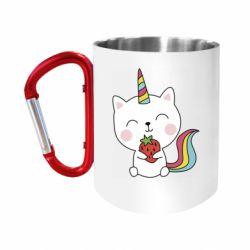 Кружка з ручкою-карабіном Cat unicorn and strawberries