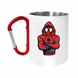 Кружка з ручкою-карабіном Людина павук в толстовці