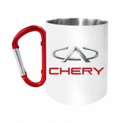"""Кружка с ручкой """"карабин"""" Chery Logo"""