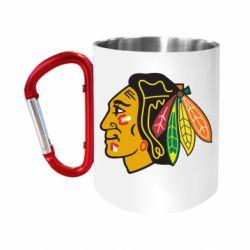 """Кружка с ручкой """"карабин"""" Chicago Black Hawks"""