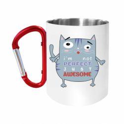 """Кружка с ручкой """"карабин"""" Cute cat and text"""