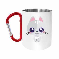 Кружка з ручкою-карабіном Cute cat with big eyes