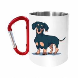 "Кружка с ручкой ""карабин"" Cute dachshund"