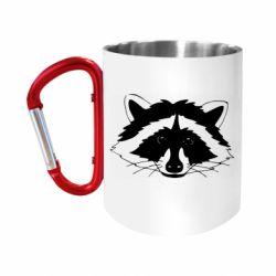 Кружка з ручкою-карабіном Cute raccoon face
