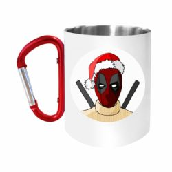"Кружка с ручкой ""карабин"" Deadpool in New Year's hat"