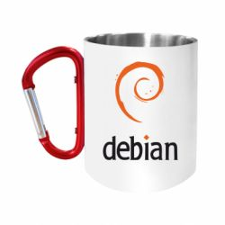 "Кружка с ручкой ""карабин"" Debian"