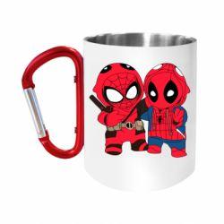 """Кружка с ручкой """"карабин"""" Дэдпул и Человек паук"""