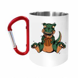 "Кружка с ручкой ""карабин"" Dinosaur and basketball"