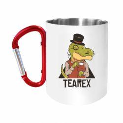 Кружка з ручкою-карабіном Dinosaur with tea