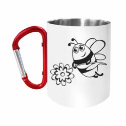 """Кружка с ручкой """"карабин"""" Добрая пчелка"""