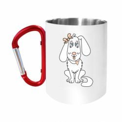 "Кружка с ручкой ""карабин"" Dog with a bow"