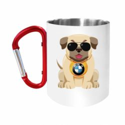 Кружка з ручкою-карабіном Dog with a collar BMW