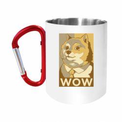 Кружка з ручкою-карабіном Doge wow meme