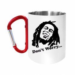 "Кружка с ручкой ""карабин"" Don't Worry (Bob Marley)"