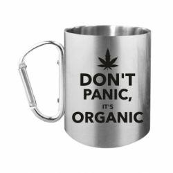 """Кружка с ручкой """"карабин"""" Dont panic its organic"""