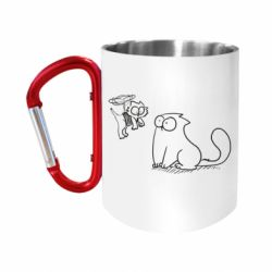 Кружка з ручкою-карабіном Два кота