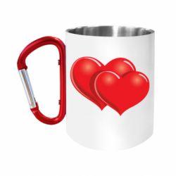 """Кружка с ручкой """"карабин"""" Два сердца"""