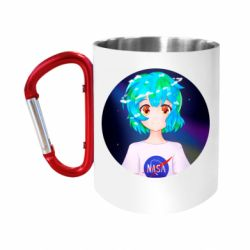 Кружка з ручкою-карабіном Earth-chan in a T-shirt with a Nasa logo