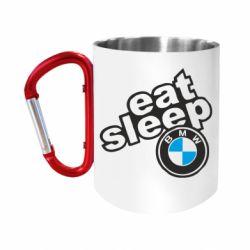 Кружка з ручкою-карабіном Eat, sleep, BMW