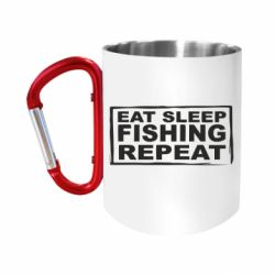 Кружка з ручкою-карабіном Eat, sleep, fishing