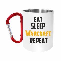 """Кружка с ручкой """"карабин"""" Eat sleep Warcraft repeat"""