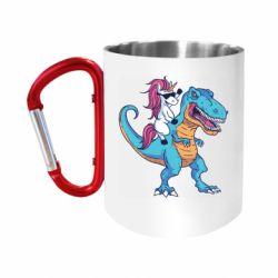 Кружка з ручкою-карабіном Єдиноріг і динозавр