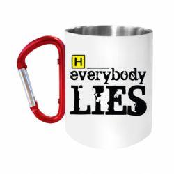 """Кружка с ручкой """"карабин"""" Everybody LIES House"""