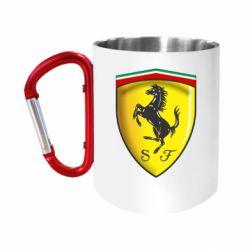 "Кружка с ручкой ""карабин"" Ferrari 3D Logo"