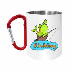 """Кружка с ручкой """"карабин"""" Fish Fishing"""