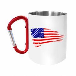 Кружка з ручкою-карабіном Прапор США