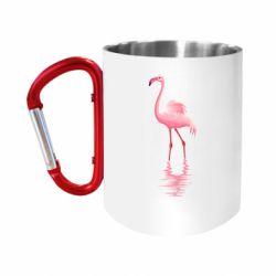 Кружка з ручкою-карабіном Фламинго