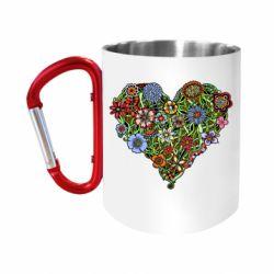 Кружка з ручкою-карабіном Flower heart