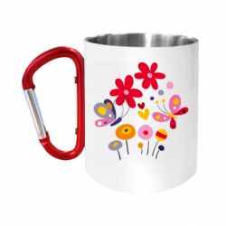 "Кружка с ручкой ""карабин"" Flowers and Butterflies"
