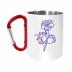 """Кружка с ручкой """"карабин"""" Flowers line bts"""