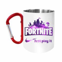 Кружка з ручкою-карабіном Fortnite just play it