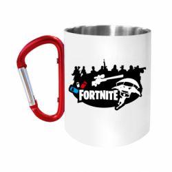 """Кружка с ручкой """"карабин"""" Fortnite logo and heroes"""