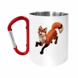 """Кружка с ручкой """"карабин"""" Fox in flight"""