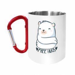 Кружка з ручкою-карабіном Free hugs bear